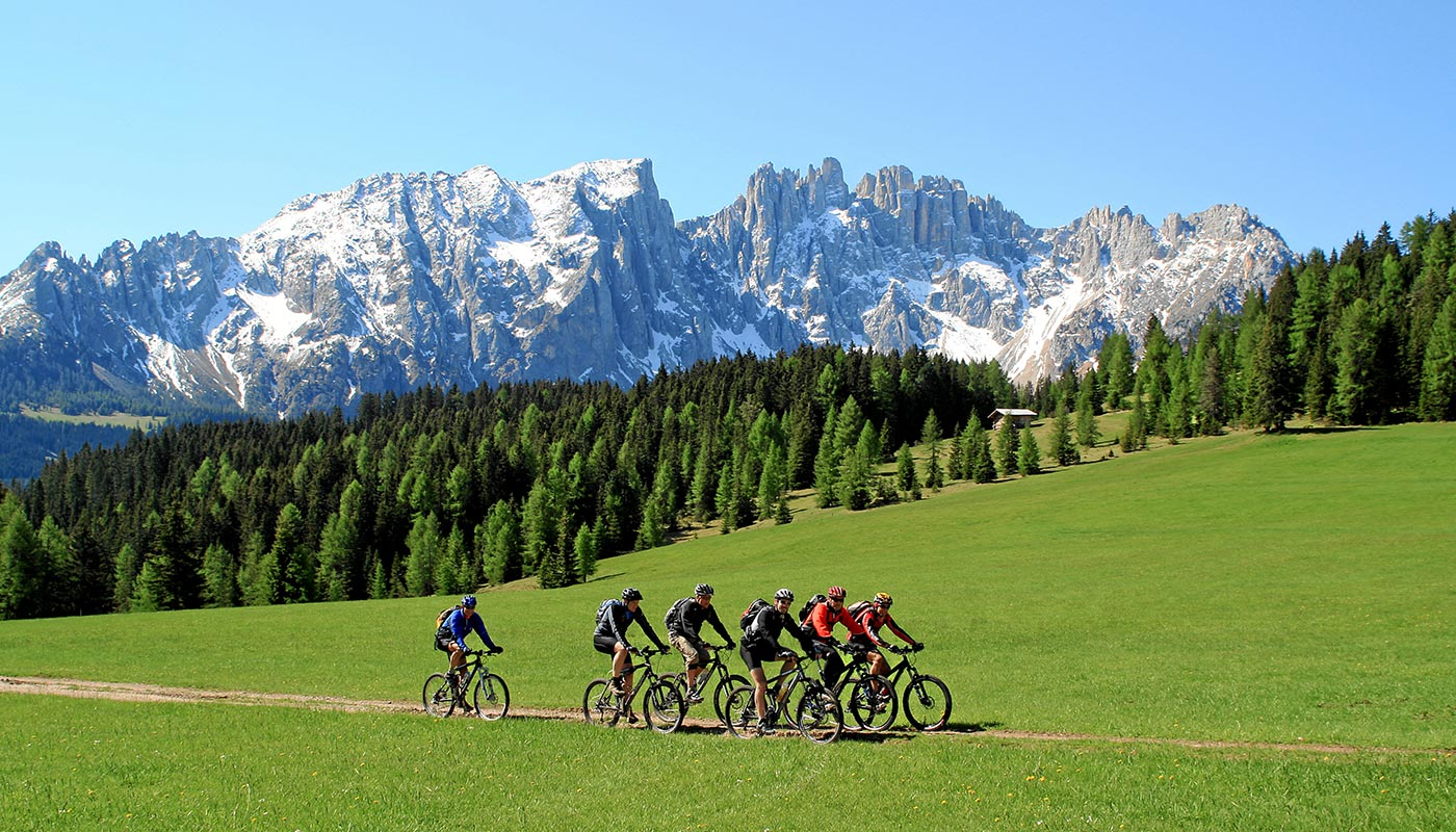 Some bikers on a hike in Val d'Ega