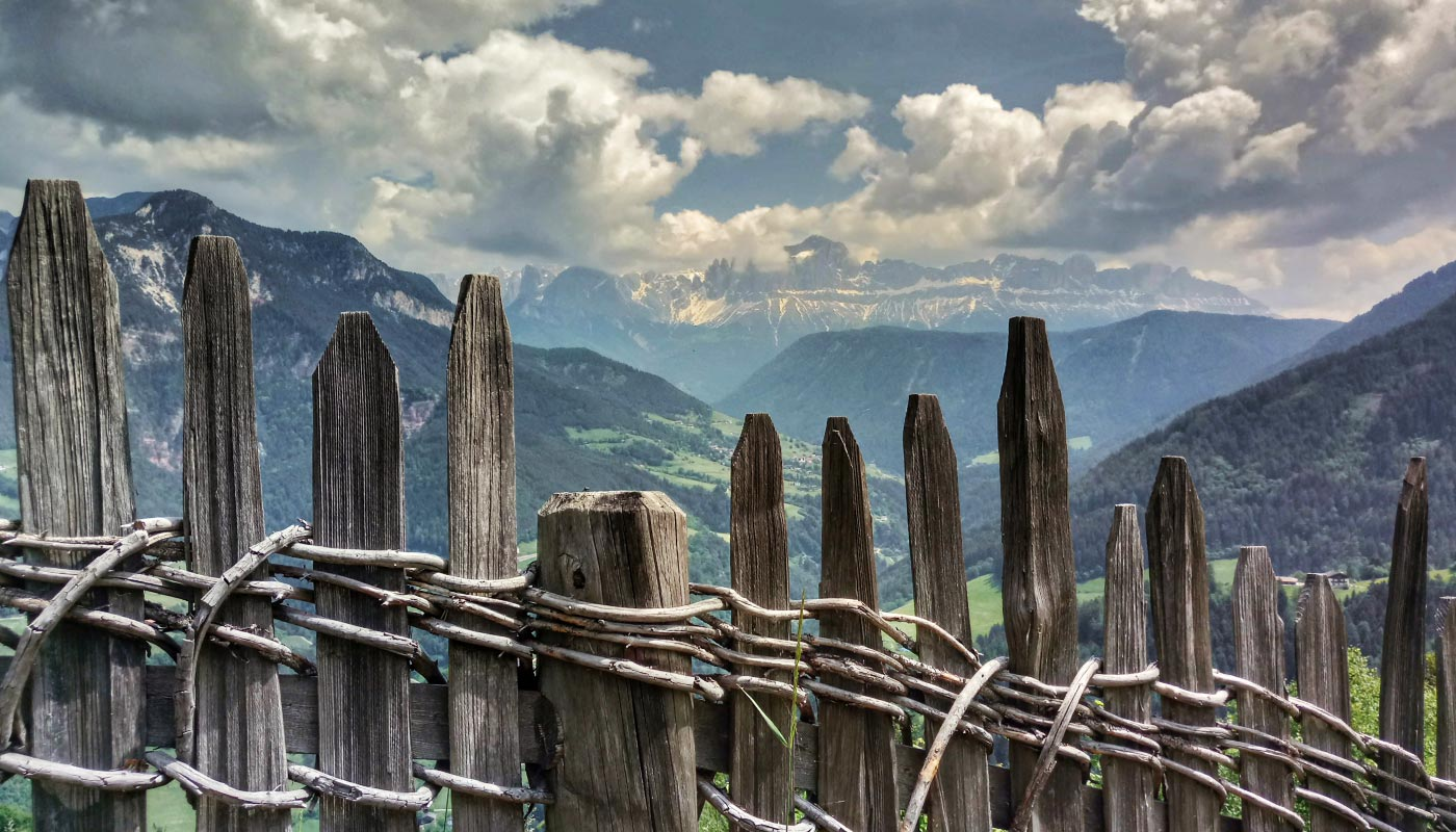 Detail of a wooden fence and in the background the Dolomites