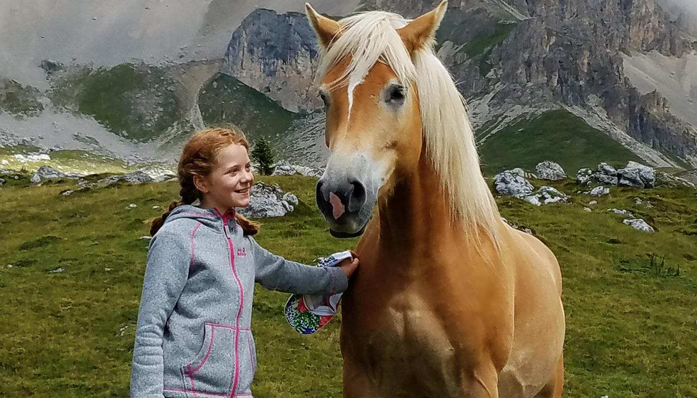 A little girl strokes a horse on a hike near Hotel Wieslhof